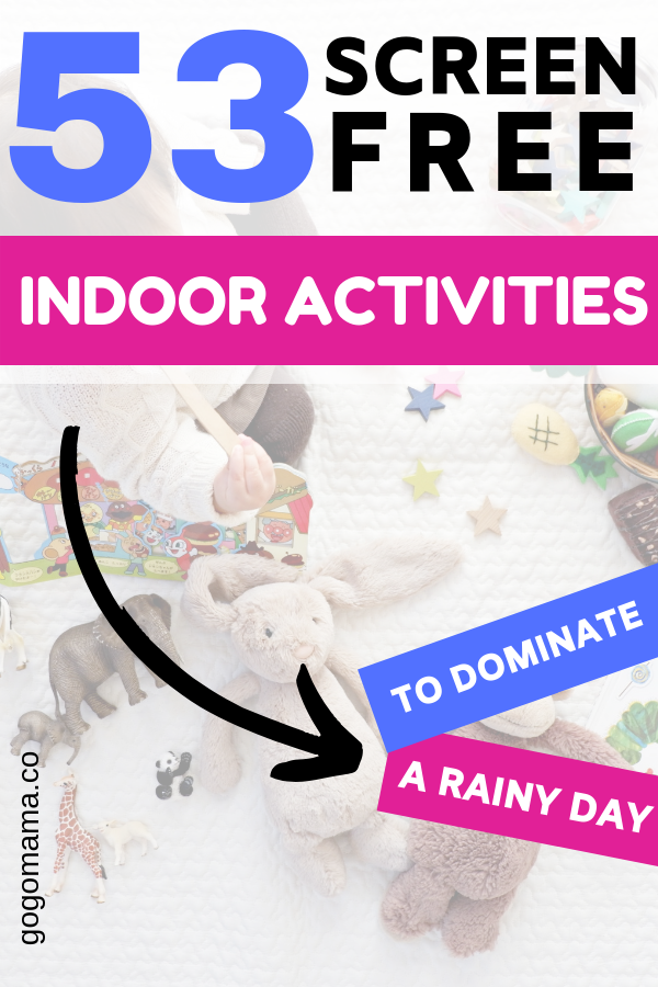 Screen Free Indoor activities Pin image