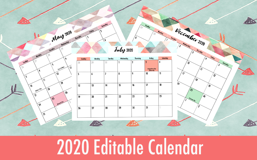 editable 2020 calendar with holidays printable
