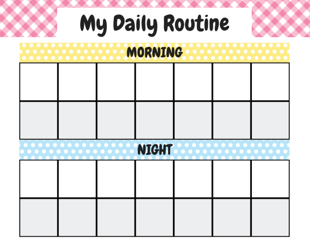 Chore Chart Template No Numbers Girl