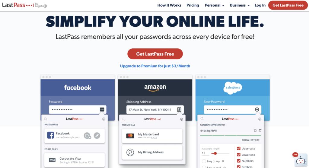 Last pass website screen grab