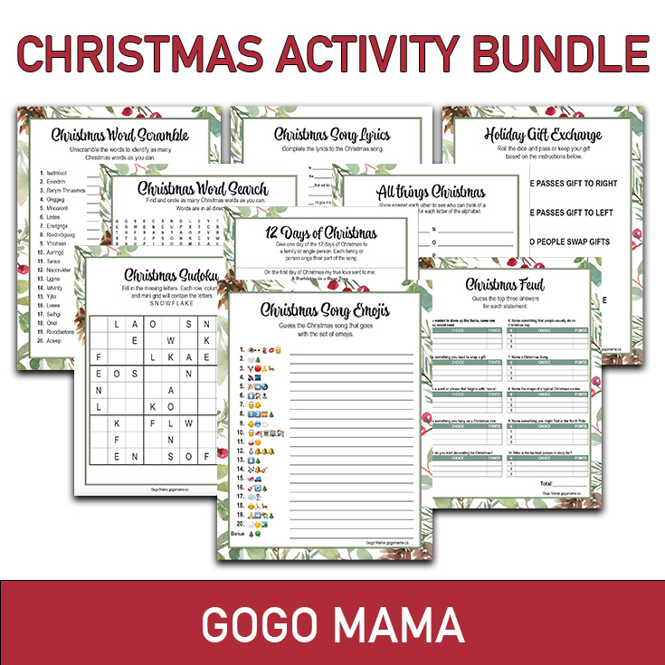 Christmas Game Activity Bundle Printable Featured Image