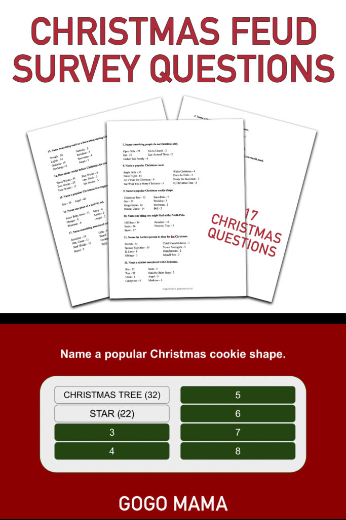 Christmas Feud Survey Questions PIN Image