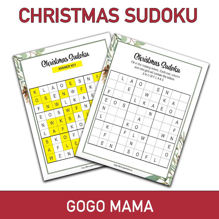 Christmas Suduko Game Printable