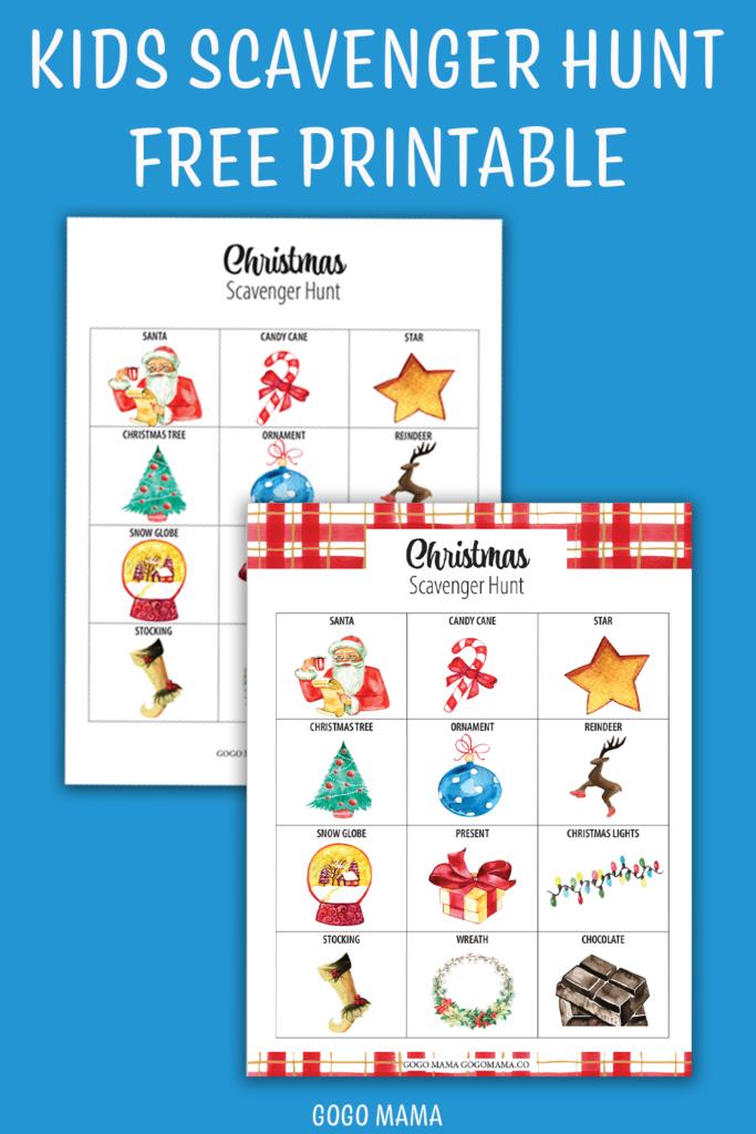 Kids Christmas Scavenger Hunt Printable Pin Image