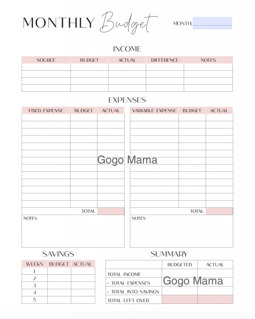 Monthly Budget for Finance Planner