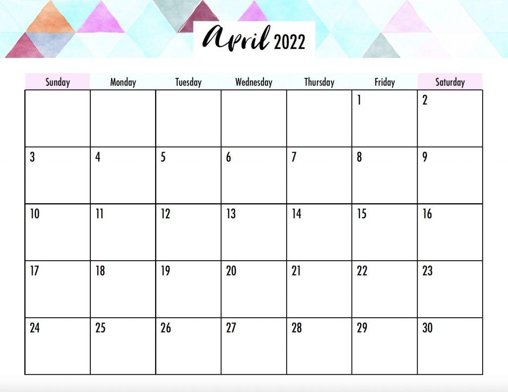 April 2022 Calendar Printable Sunday Start