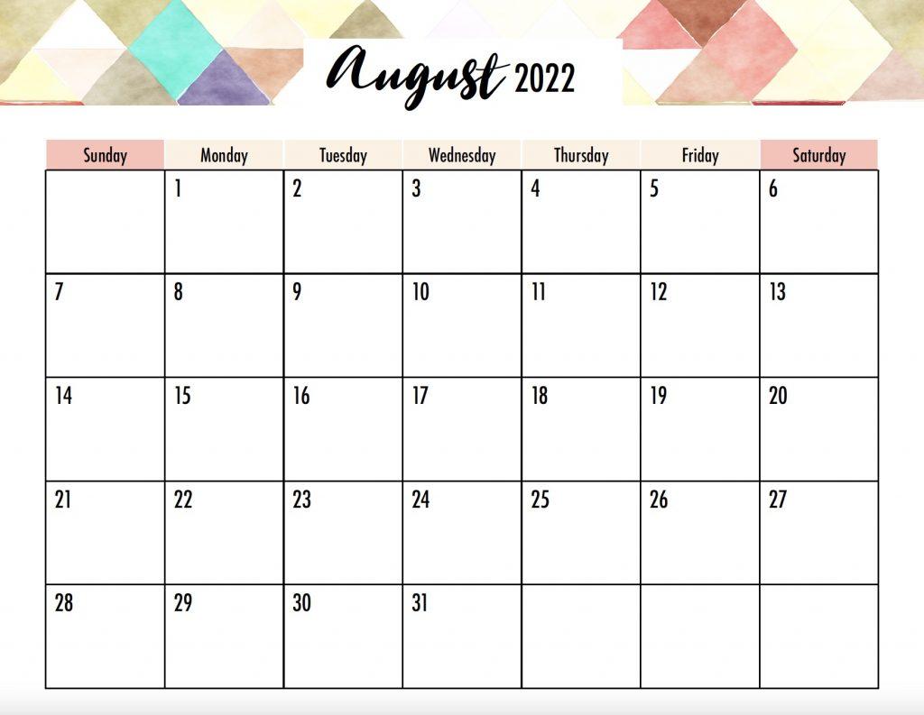 August 2022 Calendar Printable Sunday Start