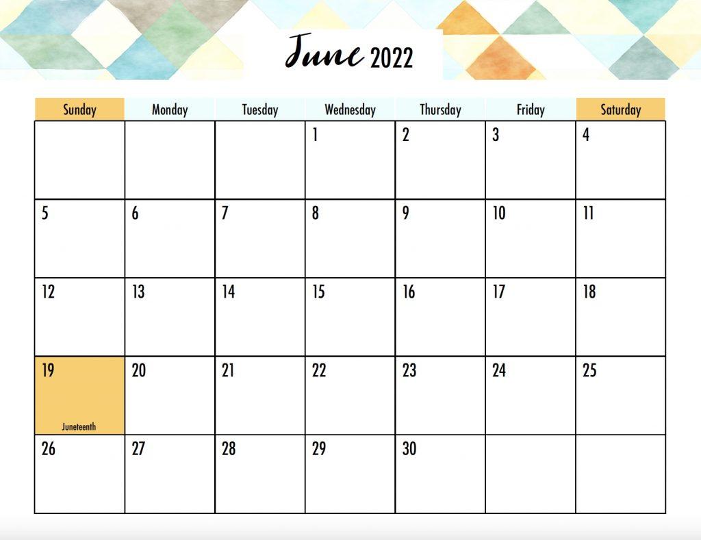 June 2022 Calendar Sunday Start Holidays