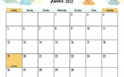 June 2022 Calendar Free Printable