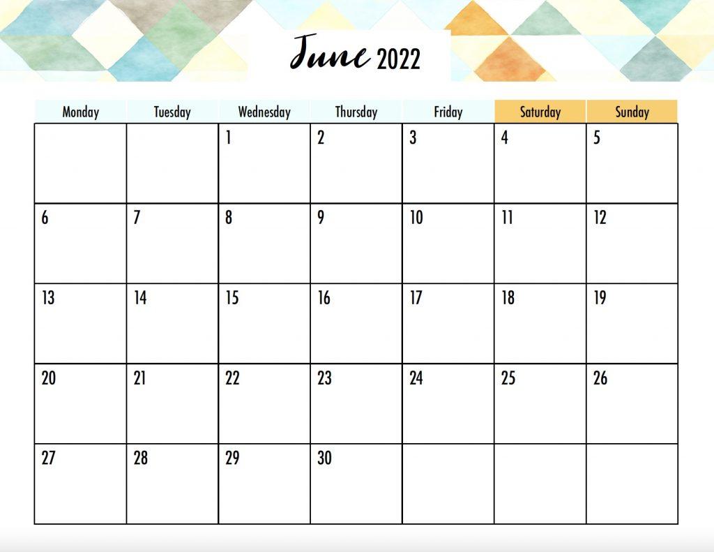 June 2022 Printable Calendar Monday Start No Holidays