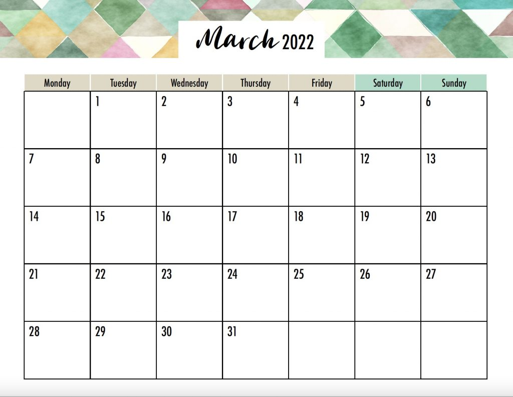March 2022 Calendar Monday Start