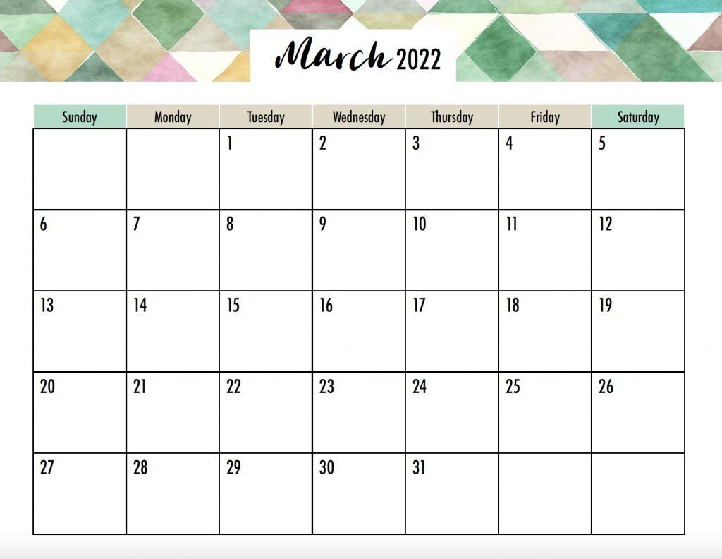 March 2022 Calendar Free Printable Sunday Start