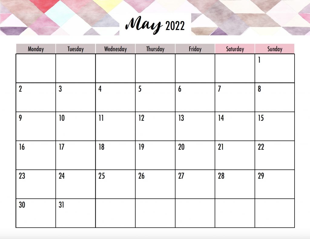 Monday Start 2022 Calendar No Holidays