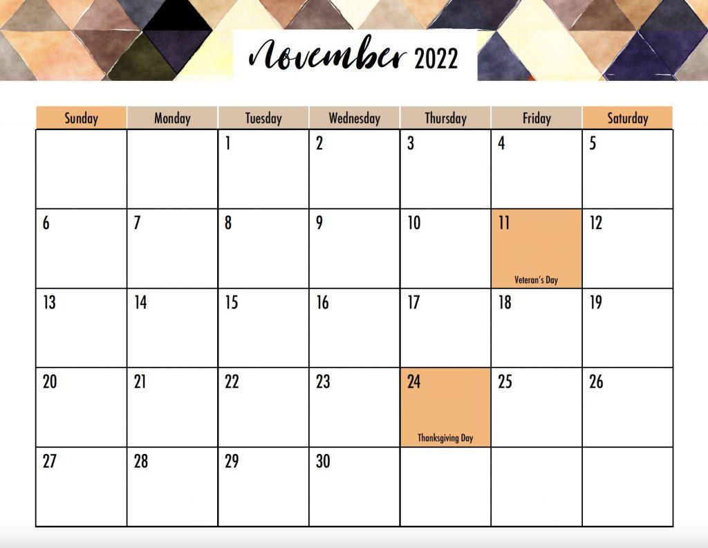November 2022 Calendar Sunday Start Holidays