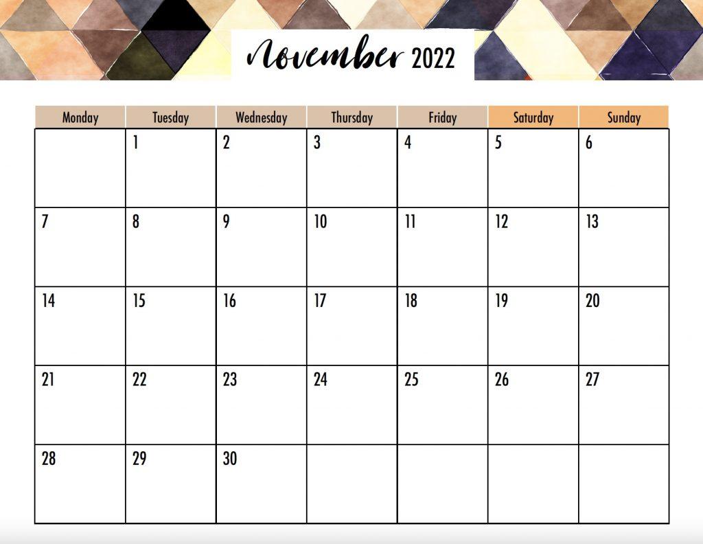 November 2022 Calendar Monday Start No Holidays
