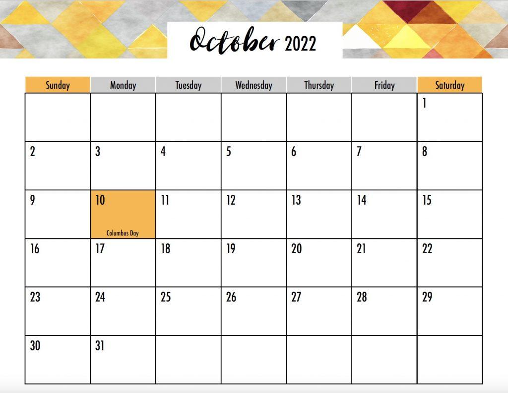 October 2022 Calendar Sunday Start Holidays