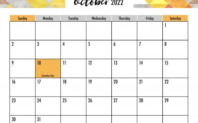 October 2022 Calendar Free Printable