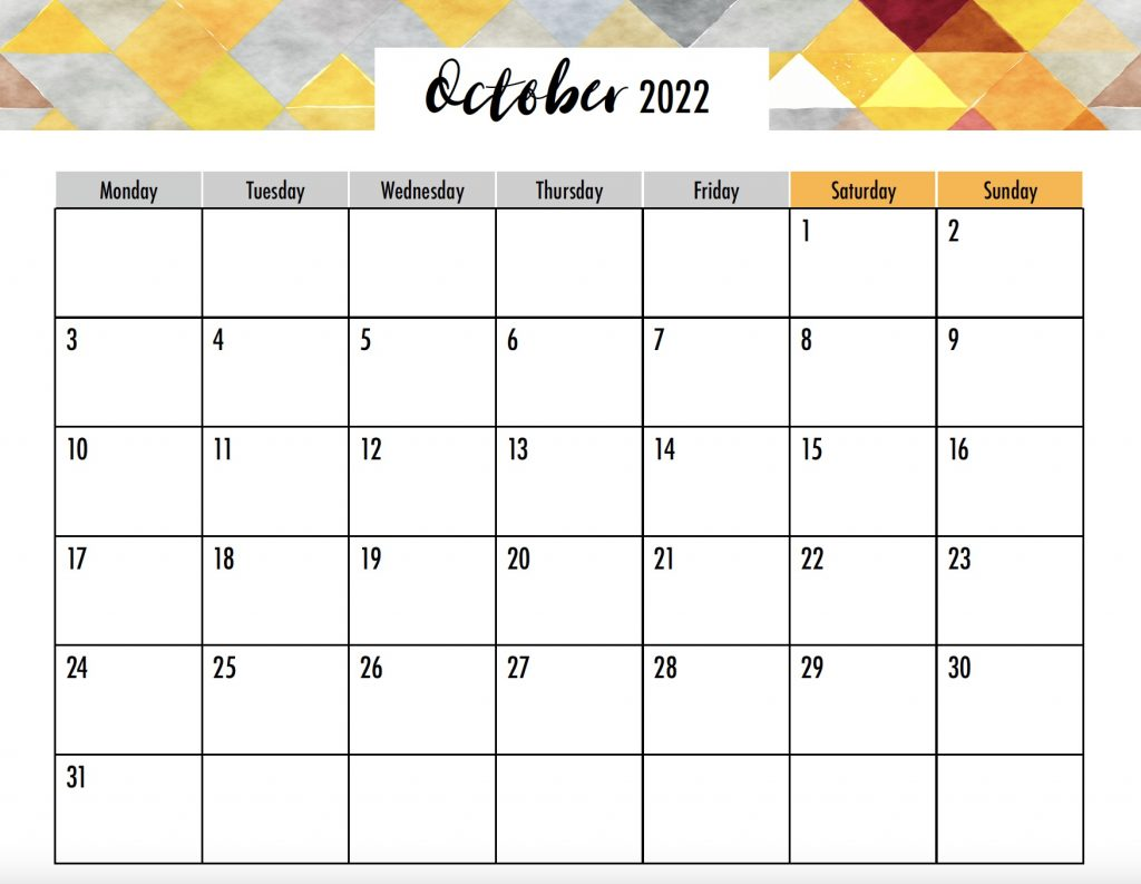 October 2022 Printable Monday Start No Holidays